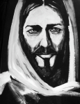 Religious Artist Painting Prints - Face of Christ Print by Larry Cole