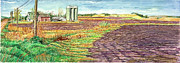 Fall Panorama Paintings - Fall Plowing in Mower County by David Bratzel
