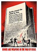 Government Posters - FDR Quote On Book Burning  Poster by War Is Hell Store
