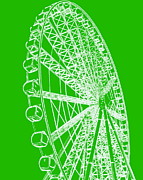 Ramona Johnston - Ferris Wheel Silhouette Green White