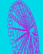 Ramona Johnston - Ferris Wheel Silhouette Purple Turquoise