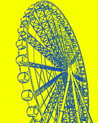 Ramona Johnston - Ferris Wheel Silhouette Yellow Blue