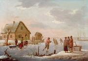 Hendrik Willem Schweickardt - Figures Skating in a Winter Landscape