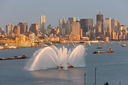 Hudson River Tugboat Photos - Fire Boat and Manhattan Skyline IV by Clarence Holmes