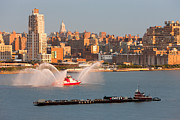 Hudson River Tugboat Photos - Fire Boat and Manhattan Skyline V by Clarence Holmes