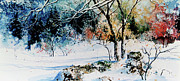 Winter Landscapes Framed Prints - First Snowfall Framed Print by Hanne Lore Koehler