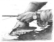 Trout Drawings - Fish Off by Mike Worthen