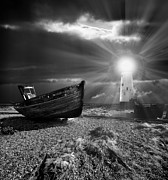 Beach. Black And White Posters - Fishing Boat Graveyard 7 Poster by Meirion Matthias