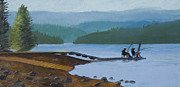 Buddies Paintings - Fishing Buddies at Timothy Lake by Alice Leggett