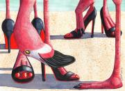 Humor. Paintings - Flamingo Heels by Catherine G McElroy