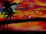 Tropical Sunset Prints - Florida Sunset Print by Maria Barry