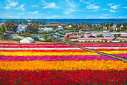 Oceanside Painting Prints - Flower Fields Print by Lisa Reinhardt