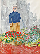 Smiling Mixed Media Posters - Flower Market France Poster by Fred Jinkins