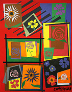 Collage Tapestries - Textiles Metal Prints - Flower Study 2 Metal Print by Teddy Campagna