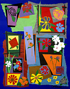 Collage Tapestries - Textiles Metal Prints - Flowers Study 1 Metal Print by Teddy Campagna