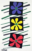 Lines Tapestries - Textiles Prints - Flowers Three Print by Teddy Campagna
