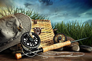 Sandra Cunningham - Fly fishing equipment with hat on...