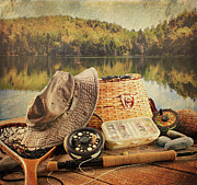 Sandra Cunningham - Fly fishing equipment  with vintage look