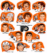Philadelphia Flyers Digital Art - Flyer Greats in color by Chris  DelVecchio