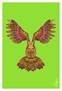 Owls Framed Prints - Flying Owl Framed Print by Nelson Garcia