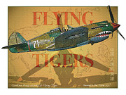 P-40 Mixed Media Framed Prints - Flying Tigers Framed Print by Kenneth De Tore