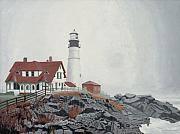 New England Lighthouse Painting Prints - Fog Approaching Portland Head Light Print by Dominic White