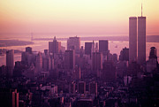 World Cities Posters - Foggy cityscape at sunset in Manhattan New York Poster by Sami Sarkis