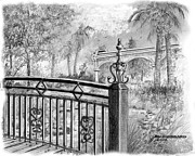 Florida Drawings - Footbridge-Spanish Springs by Jim Hubbard