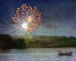 Fireworks Painting Metal Prints - Fourth of July- Cazenovia Lake Metal Print by Wayne Daniels