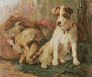 English School - Fox Terrier with the Day