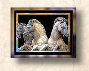 Roman Horses In 3-d Prints - Free mat 13  Print by Lg Booth