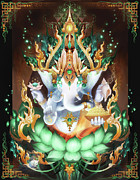 Lotus Art Framed Prints - Galactik Ganesh Framed Print by George Atherton