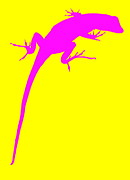 Ramona Johnston - Gecko Silhouette Yellow Pink