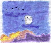 Geese Drawings Prints - Geese and the Moon Print by Tony  Nelson