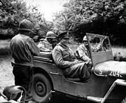 War Is Hell Store Photo Prints - General Eisenhower In A Jeep Print by War Is Hell Store