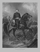 North Mixed Media Framed Prints - General George McClellan On Horseback Framed Print by War Is Hell Store
