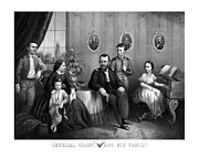 Union Commanders Prints - General Grant And His Family Print by War Is Hell Store