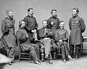 United States Army Framed Prints - General Sherman and His Staff  Framed Print by War Is Hell Store