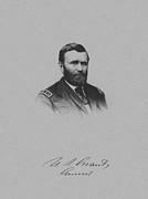 Union Commanders Prints - General Ulysses Grant And His Signature Print by War Is Hell Store