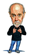 Celebrities Framed Prints - George Carlin Framed Print by Art