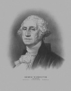 Us Presidents Framed Prints - George Washington Framed Print by War Is Hell Store