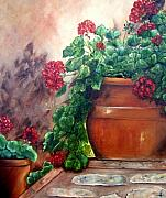 Susan Dehlinger - Geraniums on a Stone Wall