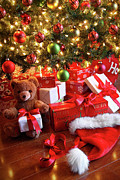 Surprise Photos - Gifts under the tree for Christmas by Sandra Cunningham