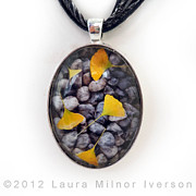 Laura Milnor Iverson Jewelry Originals - Ginkgo Leaves on Gray Stones Pendant by Laura Iverson