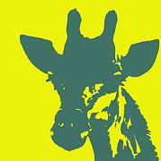 Ramona Johnston - Giraffe Silhouette Yellow Aqua