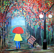 Lamppost Paintings - Girl in the Rain by Jo Claire Hall