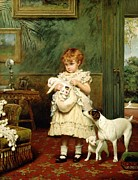Charles Burton Barber - Girl with Dogs