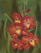 Gladiolas Paintings - Gladiolas by Angela Tomey