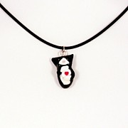 Tuxedo Jewelry - Glossy JellicleTuxedo Cat Hugging Valentine Necklace by Pet Serrano