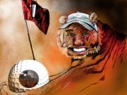 Tiger Woods Drawings - Go for it by Miki De Goodaboom